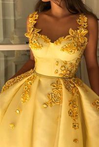 Image 4 - Vestido de noche musulmán amarillo, encantador, con tirantes finos, islámico de Dubái, Arabia Saudí, largo y elegante