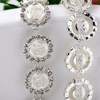 1 Yard 20mm Ronde Clear Kristallen Steentjes Met Witte Hars Rose Bloem Keten Lint Trim Voor Wedding Cake Banding naaien