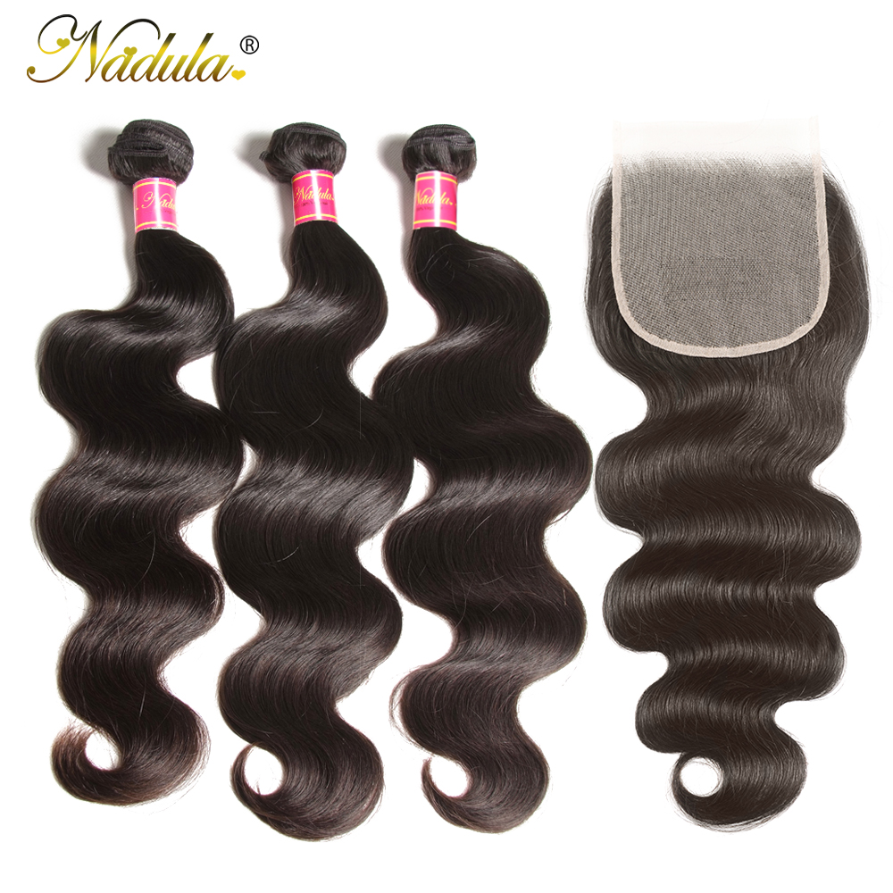 NADULA HAIR 4X4 Lace Closure Body Wave Hair Bundles With Closure Swiss Lace Medium Brown  Closure With Bundles 3
