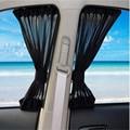 2 PCS 70L 70 x 52cm Car Auto Window Curtain Nylon Mesh Fabric Sunshade Windshield Visor Block Black Curtains UV Protection