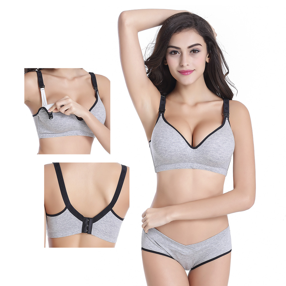 Bras+Underwear Set Cotton Pregnant Brassieres Women Feeding Bra Panties Pregnancy Breast For Maternity &Nursing Clothing