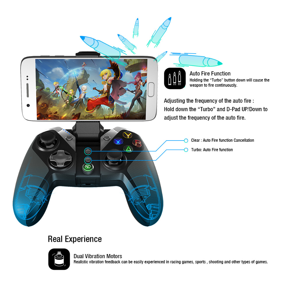 GameSir G4s controlador USB inalámbrico Bluetooth Gamepad para caja de TV Android Smartphone Tablet PC Juegos VR 2,4 GHz Joypad - 2