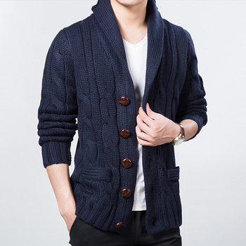 2019 New Mens Outwear Sweatercoat Knited Winter Spring Sweater Men Thick Wool Blend Full Sleeves Solid Cardigans
