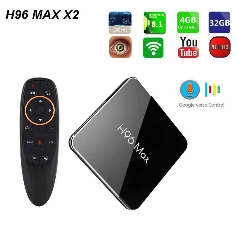 Le plus récent H96 MAX X2 Amlogic S905X2 Quad Core Android 8.1 Smart TV BOX 4 GB RAM 32 & 64 GB ROM LPDDR4 4 K HD H.265 lecteur multimédia