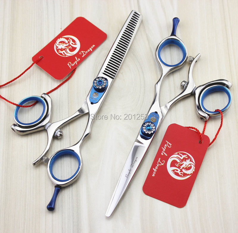 ФОТО 6.0Inch/5.5Inch 360 Degree Rotation Cutting Scissors&Thinning Scissors Kits Hair Shears with Nice Diamond JP440C,1set LZS0446
