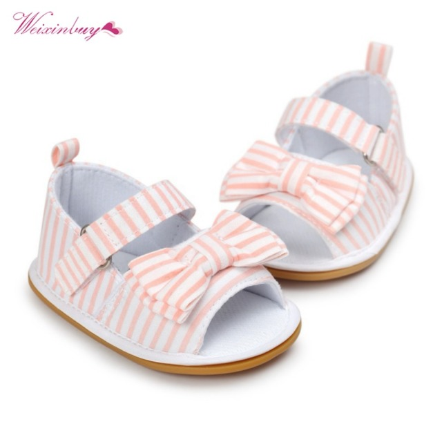 WEIXINBUY Girls Summer Cute Tartan Princess Style Bowknot Breathable Non-slip Soft Bottom Cack First Walkers 0-18M 3