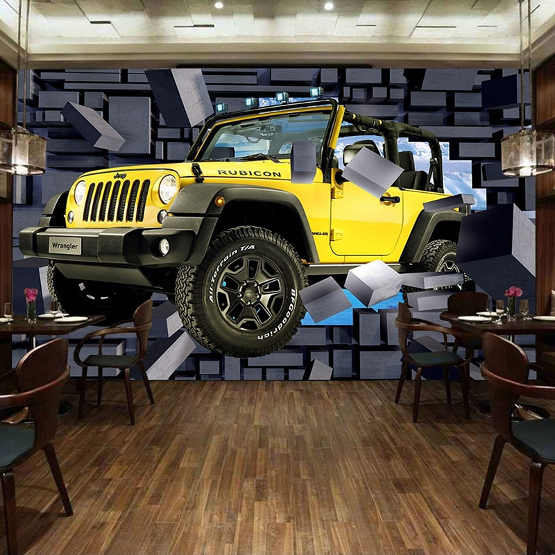 Custom Mural Wallpaper 3D Cartoon Jeep Car Broken Wall Fresco Restaurant Cafe Boy Kids Bedroom Backdrop Wall Decor Wallpaper 3 D
