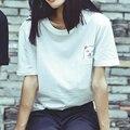 Mujeres de moda cat impreso cuello redondo manga corta camiseta de algodón camisetas top tees camisetas mujer