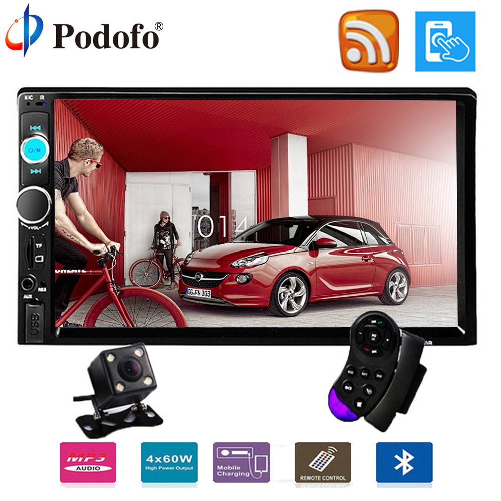 Podofo 2 din car radio 7″ HD Touch Screen7023B Player MP5 SD/FM/MP4/USB/Bluetooth Car Audio with Rear View Camera Remote Control