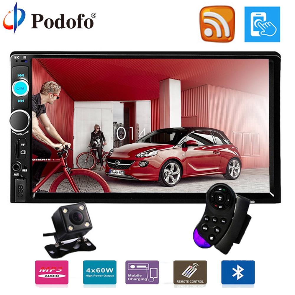 Podofo 2 din voiture radio 7 HD Tactile Screen7023B Lecteur MP5 SD/FM/MP4/USB/Bluetooth De Voiture Audio avec Vue Arrière Caméra Télécommande