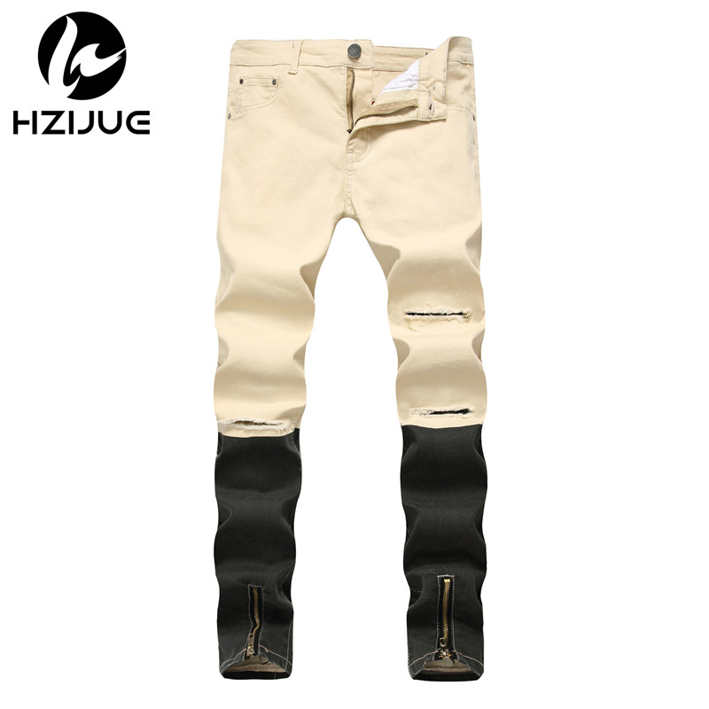 HZIJUE 2018 New Arrival Fashion Brand hiphop Mens Jeans Washed male Casual Pants zipper Design Jeans streetwear Men skinny jeans