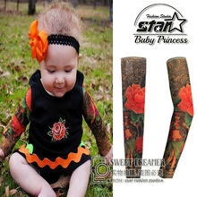2016 New High Quality 92% Nylon+8% Spandex Baby Fake Tattoo Sleeves Warmers Gloves MittensCute Cool Oversleeve