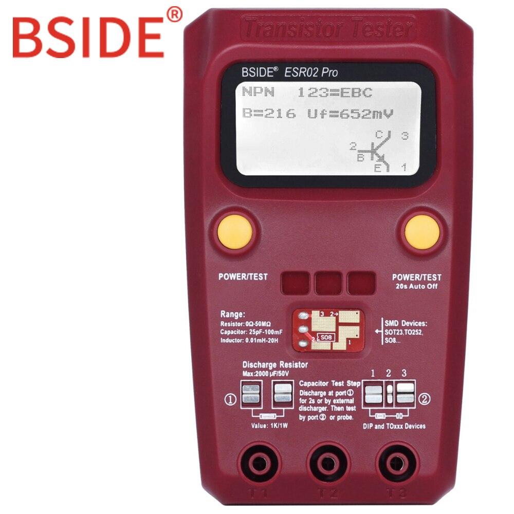 BSIDE ESR02 PRO Digitale Transistor SMD Komponenten Tester Diode Triode Kapazität Induktivität Multimeter ESR Meter