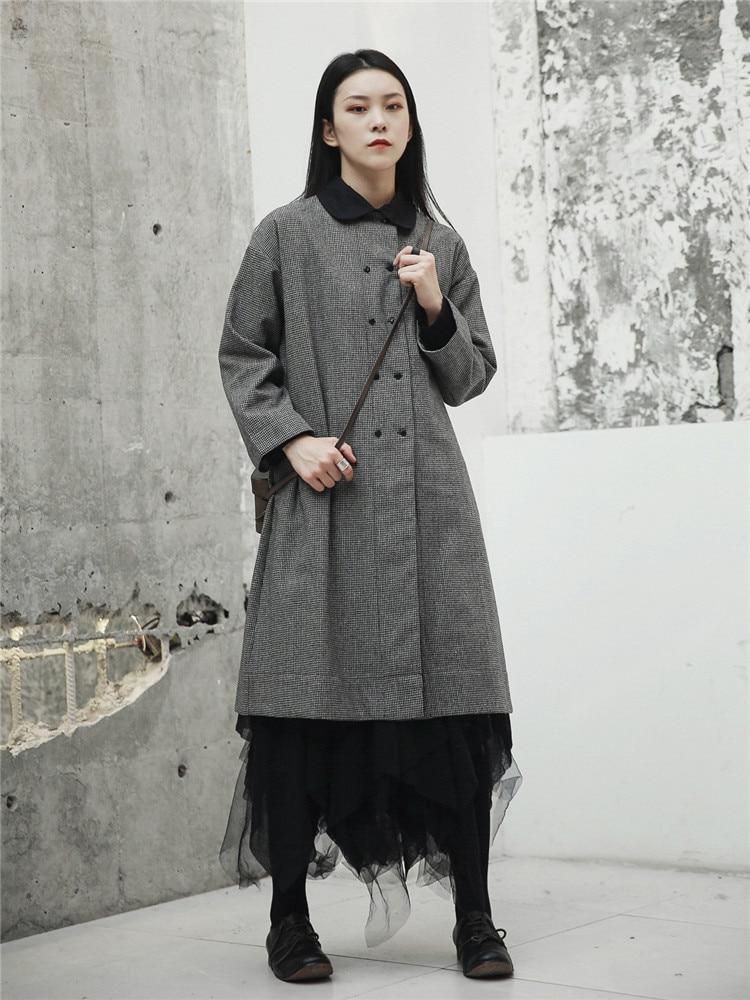 Manteau Mince Tranchée Femme Pour Japonais vent Coupe Taille Automne Grande Style Longs Plaid Femmes Manteaux Casual Pardessus Cakucool qHx65nAEww
