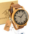 Bobobird A16 Homens Relógio de Quartzo Relógios Com Tiras De Couro De Madeira De Bambu de Luxo relojes de lujo mujer marca 2015
