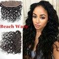 8A barato peruano de la onda playa encaje Frontal cierre nudos blanqueados 13 X 4 virgen del pelo humano pieza Frontal del cordón con el pelo del bebé