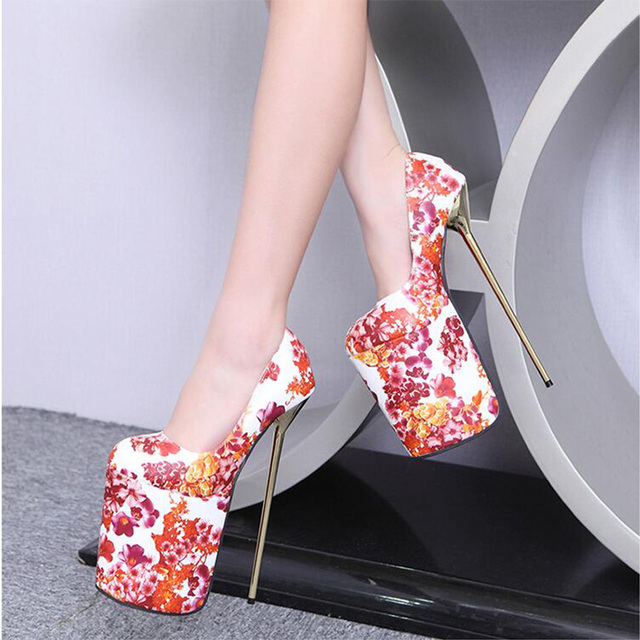 2016  Fashion Sexy Round Toe Extreme 23CM High Heels Shoes Female Pumps Waterproof High-heeled Shoes 4 Colour size 35-40