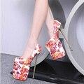 2016 Moda Dedo Do Pé Redondo Sexy Extrema 23 CM Sapatos de Salto Alto Feminino Bombas À Prova D' Água de Alta-Sapatos de salto alto 4 Cor tamanho 35-40