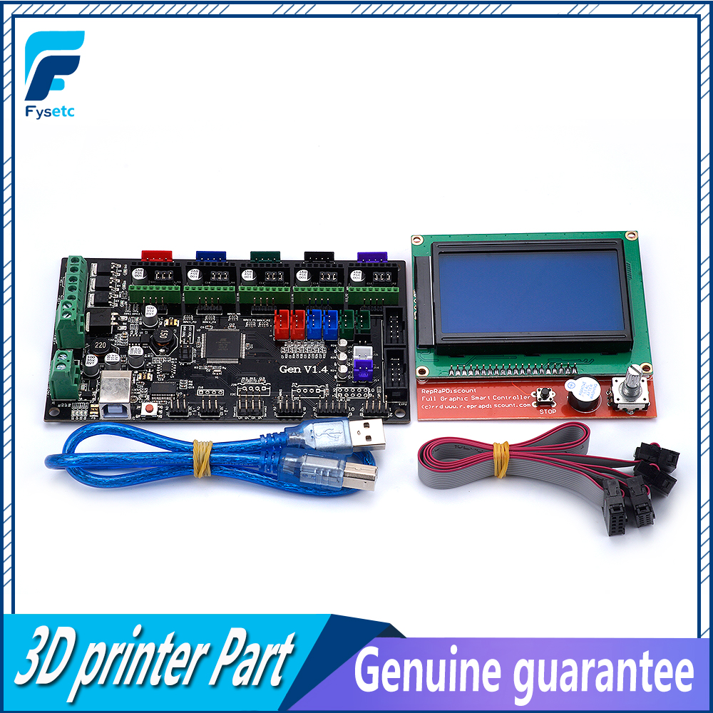 Kit d'imprimante 3D Gen V1.4 avec carte Gen V1.4 + 5 pièces A4988 couleur rouge/couleur verte + écran LCD 12864 graphique