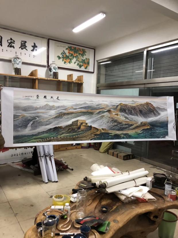 170CM LARGE TOP foreign business gift Home OFFICE SHOP WALL Decorative art CHINA GREAT WALL ART chinese silk painting