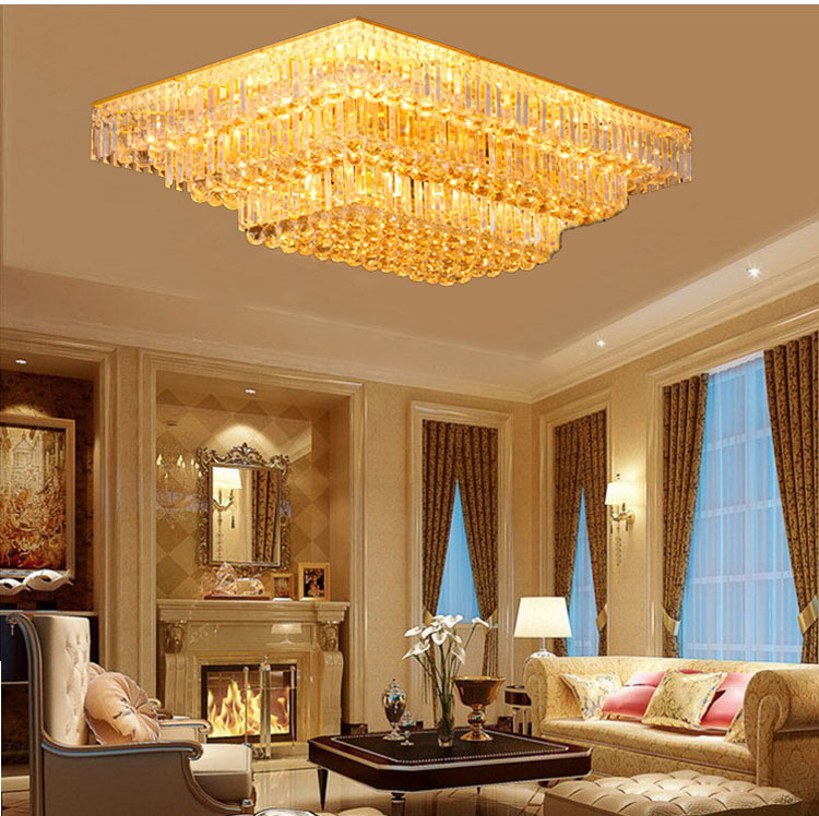 Beautiful Gold Crystal Ceiling Light Fixture Chrome Square Shape Or Rectangle Free Shipping