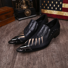 Sapato social mens iron steel pointed toe dress shoes black crocodile skin men leather shoes formal wedding shoes spiked loafers недорого