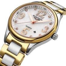 Original GUANQIN Reloj de las mujeres de cerámica y Acero (GQ90009) de Zafiro Resistente Al Agua reloj de Señora relojes de moda Relojes de diamantes mujeres