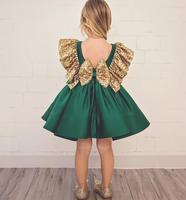 Unique Design Deep Green Short Prom Gown Sequined Cap Sleeve Flower Girl Dresses for Wedding Party Custom Made