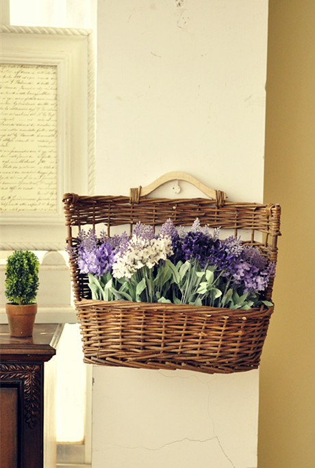 ᗑ】Americano país retro flor jardín mimbre cesta + plantas de ...