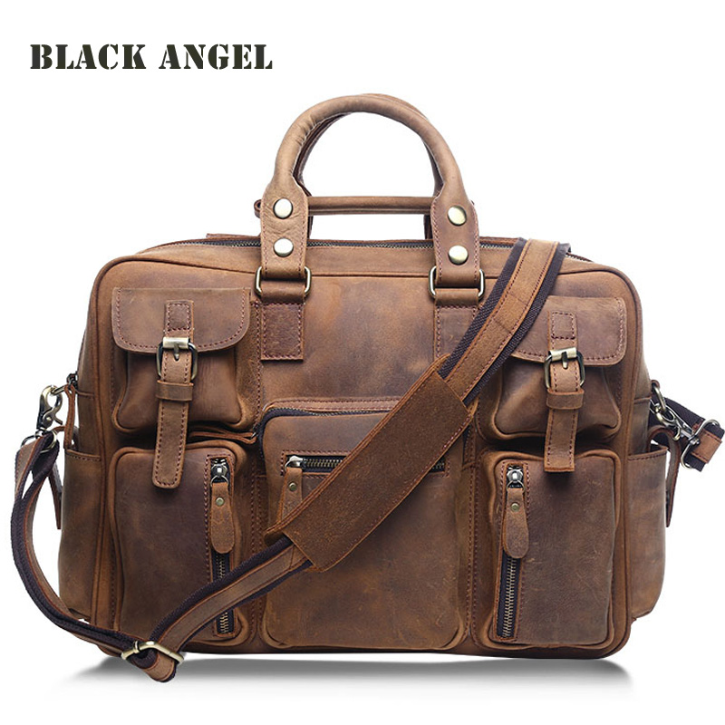 BLACK ANGEL men bag Genuine Leather Men Cowhide Leather Briefcase Laptop Tote Shoulder Messenger Bags Crazy Horse Leather bag corn bran baby crib bassinet 14 colors for choosing for 0 6 months little kids cradle cute and fancy for boys or girls hot