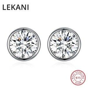 Женские и мужские серьги-гвоздики LEKANI, простые круглые серьги с кристаллами Swarovski, серебро 925 пробы, повседневные аксессуары для пирсинга