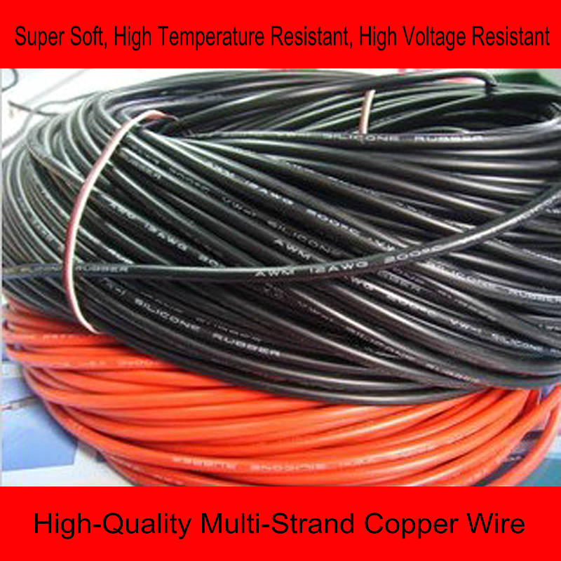 R/C 1 meter 8AWG 10AWG 12AWG 14AWG 16AWG 18AWG 20AWG 24AWG flexible soft silicone wire high temperature voltage resistant cable 20awg soft flexible silicone wire black red 100cm 2 pcs