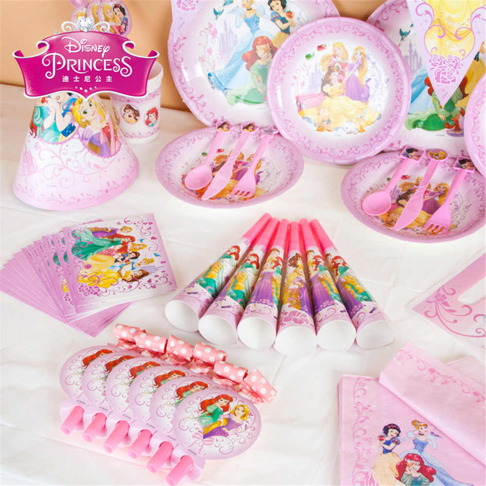 Prinses thema feestartikelen Kids Verjaardag Set Baby Birthday Party Pack event wegwerp servies Partij Decoratie