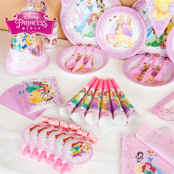 Princess theme party supplies Kids Birthday Set Baby Birthday Party Pack event disposable tableware Party Decoration image