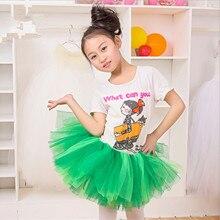 New Fashion Girls Tutu Skirts Baby Ballerina Skirt Children Tulle Skirt Fluffy Pettiskirt Kids Hallowmas Casual Green Skirts