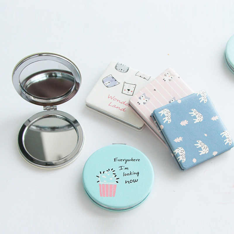 Square Double-sided Hand Mirror Makeup  Vanity Metal  Small Fresh  Natural Pocket Mirror  Compact Folded Portable  Beauty Tool