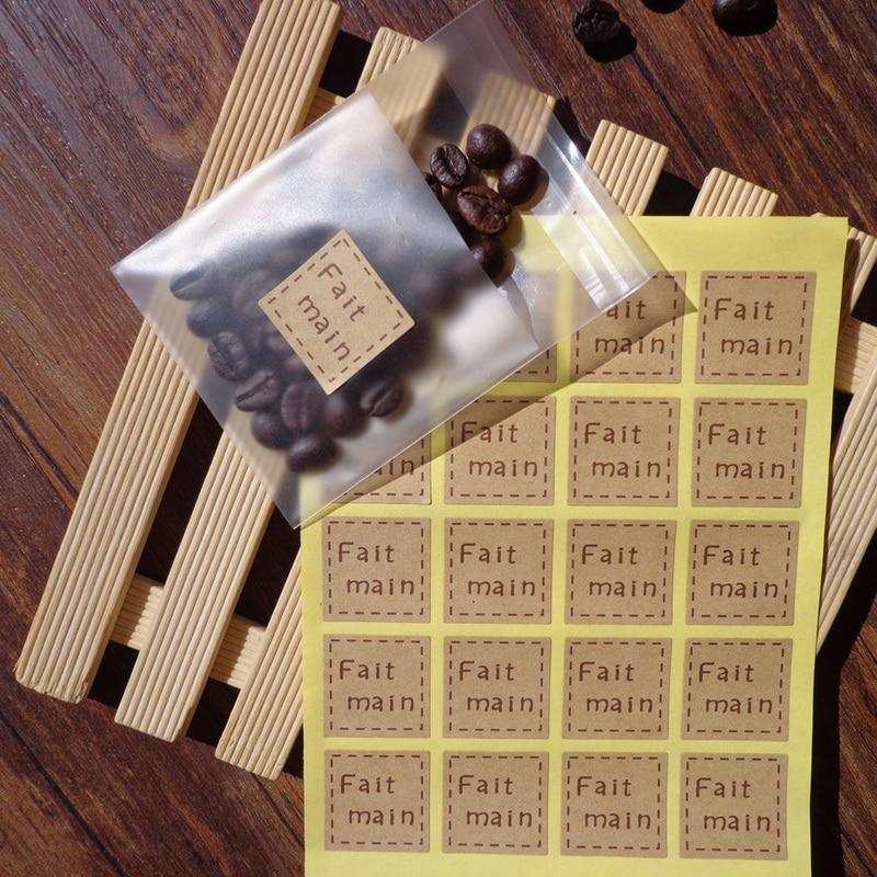 108pcs Vintage France Kraft Fait Main Hand Made Seal Sticker Paper Labels, DIY Self-Adhesive Gift St