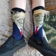President Donald Trump Socks Unisex Funny Print Adult Casual Crew Socks With 3D Fake Hair Crew Socks Hot Sale tck digital camo crew socks