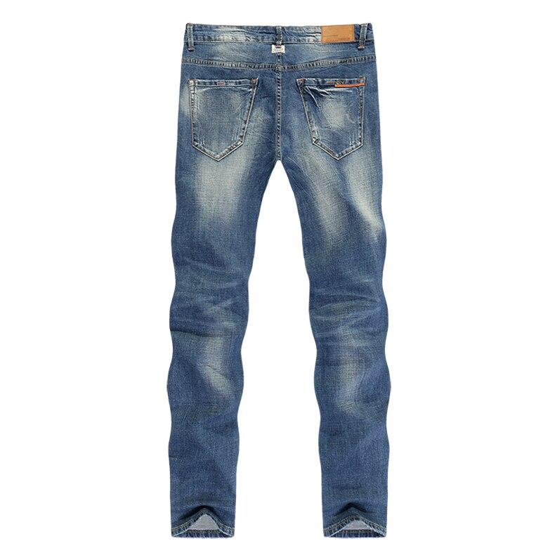 KSTUN Fashion Jeans for Men Slim Straight Blue Stretch Distressed Men's Clothes Trousers Yong Man Casual Pants Cowboys Jean Hombre 38 12