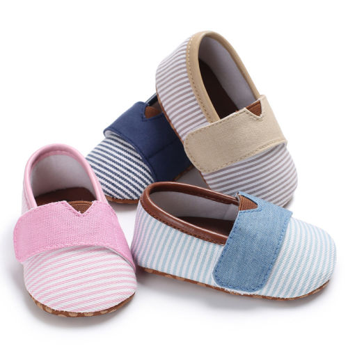 Adorable Toddler Baby Girls Casual Canvas Crib Shoes Newborn Striped Prewalker Soft Sole Sneakers