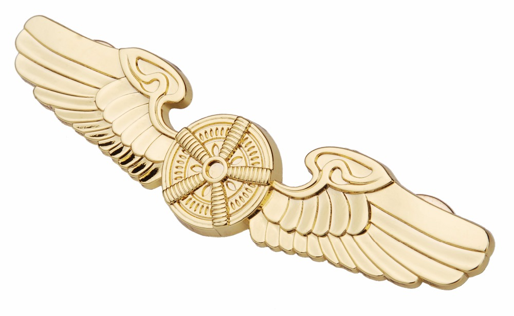 US AIRFORCE PILOTS METAL BADGE PIN WING INSIGNIA GOLDEN