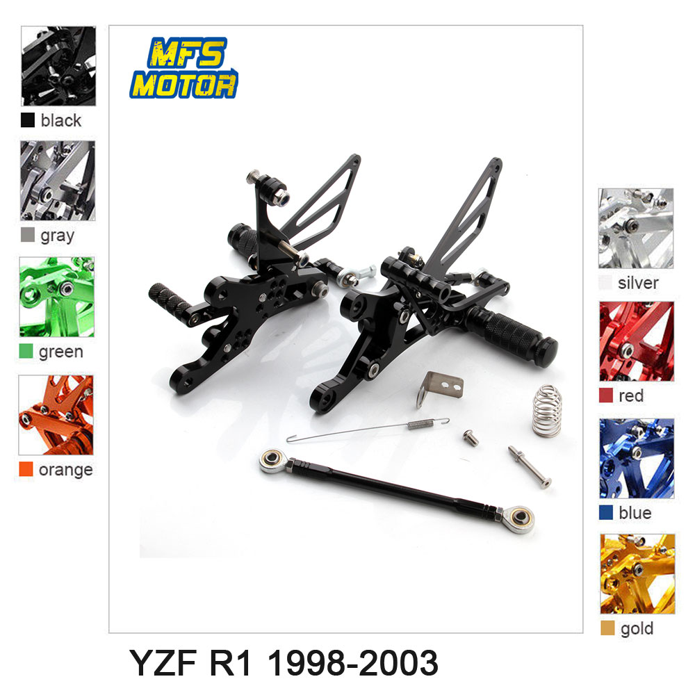 Motorcycle Rear Set Accessories CNC Adjustable Rearset Foot Peg For Yamaha YZF R1 1998-2003 YZF-R1 Foot Rests Footpegs
