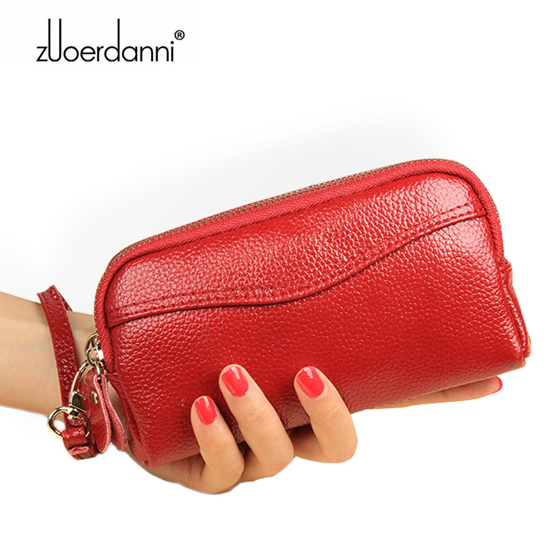 Fashion Genuine Leather Women Wallet Girls Double Zipper Coin Purse Female Clutch Bag Ladies Phone Wallet Money Bags