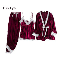 Fiklyc brand autumn & winter velvet women's three pieces lace pajamas sets korean style homewear sexy nighties for women HOT