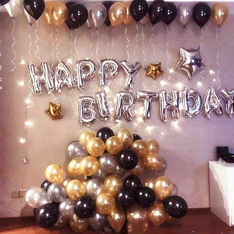 1 set silver happy birthday letter globos with pearl gold black white balloons adult gifts for theme party decorations supplies