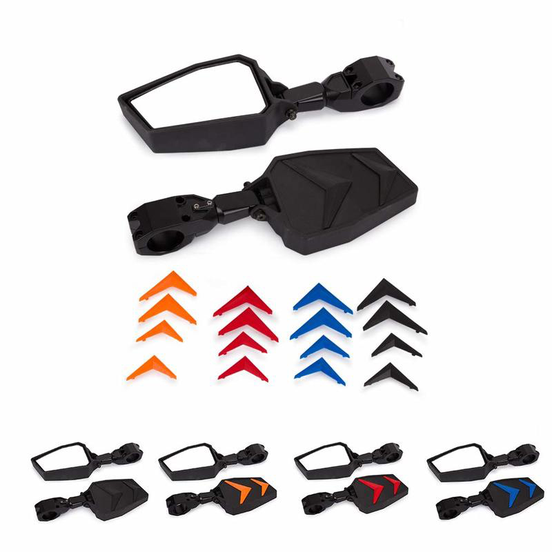 """Mansuo UTV Side Mirrors Rear View Mirrors 1.75"""" for Polairs RZR 1000 XP With 4 colors(Yellow Red Blue Black) Rear Cover