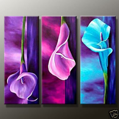 Hand Painted artwork Charm purple High Q. Flower Oil Painting on canvas 8x20inchx3 mixorde Framed
