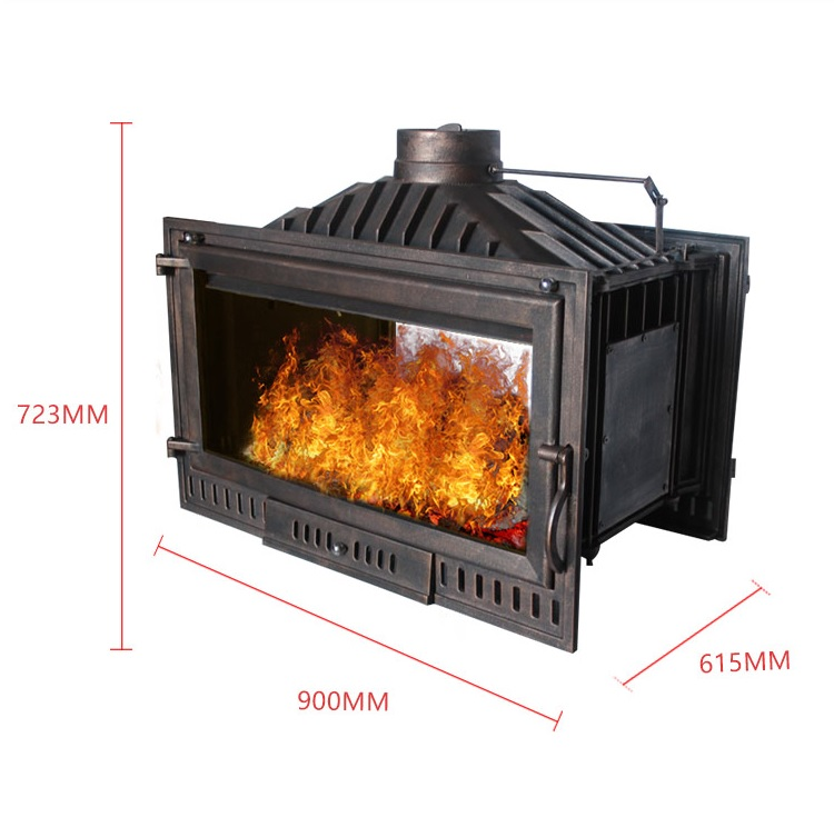 Double Sided Wood Burning Fireplace / 230kg Casting Iron Stove / 25kW Large Capacity / Flame Spark View Screen Of German Glass
