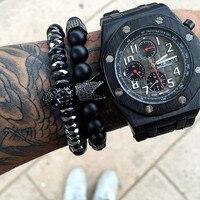 Fashion European Men S Bracelet 8mm Natural Onyx Agate Stone Beads Black Titanium Steel Skull Charm