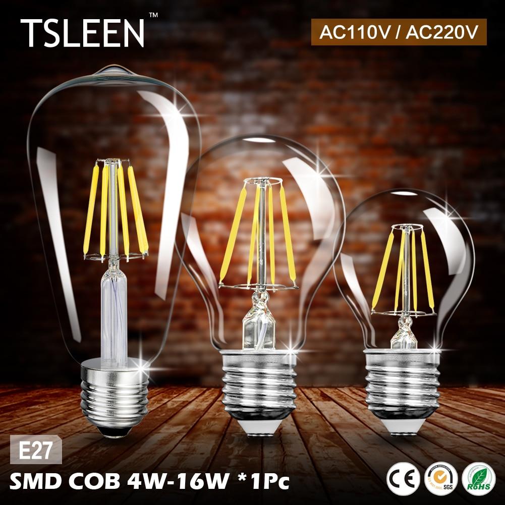 TSLEEN E27 4W 8W 12W 16W COB LED Retro Edison Filament Light Bulb Vintage Glode Flame Lamp G45 A60 ST64 AC 220V 110V Lamp